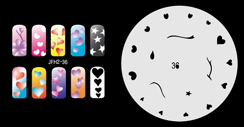 Fingernagel Schablone (airbrush nail art) Fengda JFH02-036