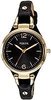 Fossil - ES3148 - Montre Femme - Quartz Analogique - Aiguilles lumineuses - Bracelet Cuir Noir