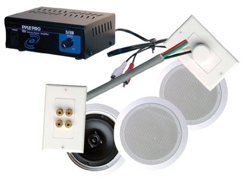 "Pyle Full Amplifier/Speakers/Installation Package For Home/Office/Schools/Public -- Pca1 Mini 2X15 W Stereo Power Amplifier + Phskit6 250W 6-1/2"" Dual In-Ceiling Speaker /Volume Contro/ Speaker Wall Plate/Wiring Combo Speaker System."
