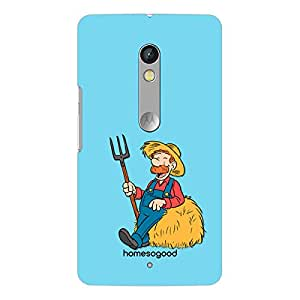 HomeSoGood Farmer Profession Blue 3D Mobile Case For Moto X Play (Back Cover)