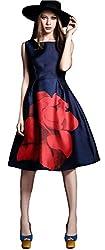 Clickedia Girl's & Women's Pure Japan satin Digital Print Nvy Blue & Red Semi-Stitched Kurti