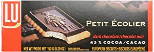 LU Cookies Le Petit Ecolier, The Little Schoolboy, Dark Chocolate, 5.29-Ounce Boxes (Pack of 6)