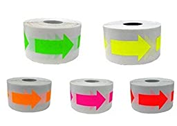 Wootile Arrow Stickers -5 Fluorescent Colors Arrow Shape Color Coding Inventory Labels 500/roll 2 Inch X 1.25 Inch