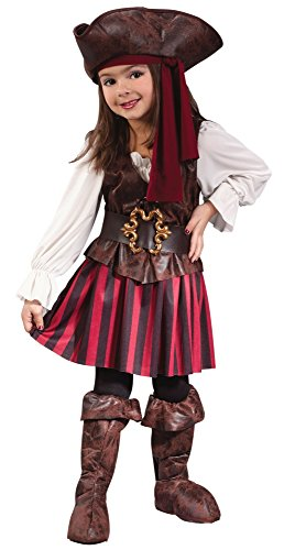 Fun World Baby Girl's Toddler Girl High Seas Buccaneer Costume, Brown/White, Large (3T-4T)