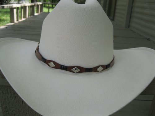 Hat Band - #920 - Brown and Black with Three Diamond Shaped Conchos