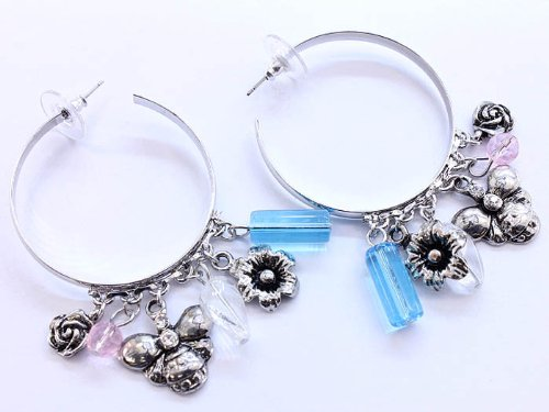 EARRING HOOP BEE AND FLOWER BLUE Fashion Jewelry Costume Jewelry fashion accessory Beautiful Charms
