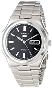 Seiko Men's SNKK47 Seiko 5 Automatic Black Dial Stainless Steel Bracelet Watch