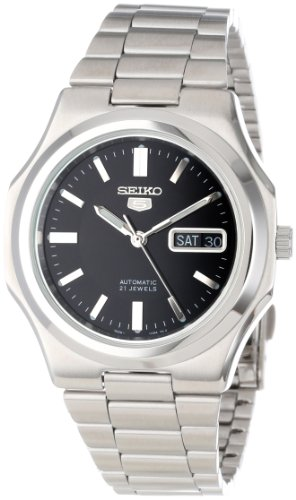 Seiko Mens SNKK47 Seiko 5 Automatic Black Dial Stainless Steel Bracelet Watch