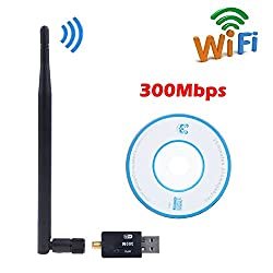 WiFi USB Adapter- 300 mbps, 150mbps with antenna / Wireless LAN / USB 2.0 Adaptor / Mini Dongle 802.IIN / SMA connection / works with PC + MAC   for Win 10 / Win 8 / Win 7 / OSx (300 Mbps)