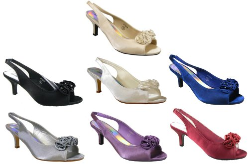 Ladies Multi Soft Satin Diamante Slingbacks Low Heels Bridesmaids Wedding Shoes