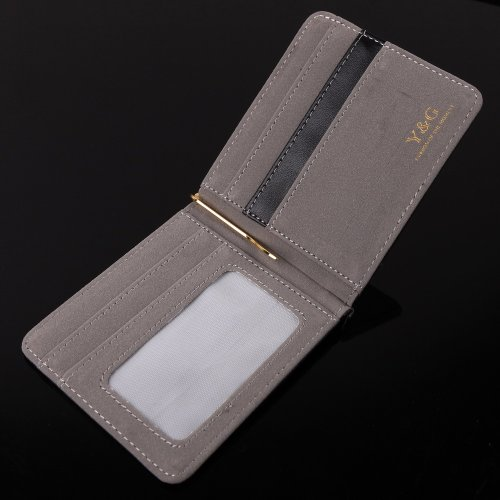 gray black money clip wallet leather 5 card holder and gold money clip Mans Wallet Credit Card Holder By Y&G Money Clip Wallet YCA1005