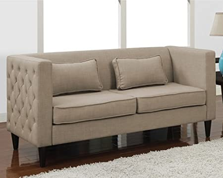 Dune Side-tufted Light Tan Linen Like Contemporary Fabric Sofa Solid Wood Legs and Two Rectangular Pillows Set - Modern Comfort Living Room Furniture