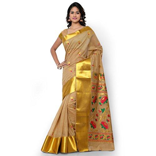 Varkala Silk Sarees Woven Khadi silk Ajanta Lotus Pallu Paithani Saree-Cream and Pink-MCJB5003CMRN  available at amazon for Rs.4350