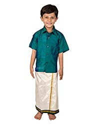 Thangamagan Boy's Shirt/Dhoty Regular Fit (Green Blue,Age : 8 to 9 Years)