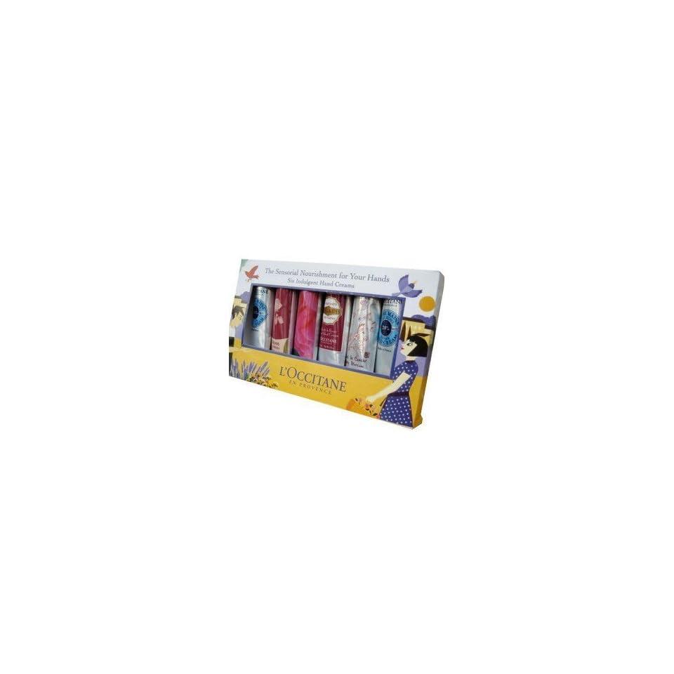 L'Occitane Indulgent Hand Cream Kit of 6 Pieces   Shea Butter, Rose Velvet, Lavender, Cherry Blossom (6 x 1 oz)  Beauty