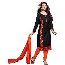 Khazanakart black chanderi cotton designer bollywood style dress materials for women