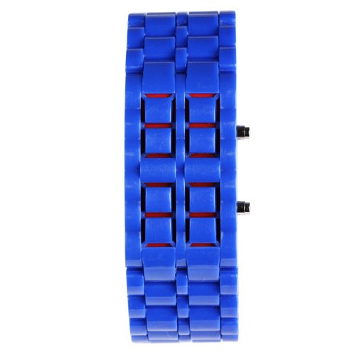 Yesurprise Color Storm MEN Lava Sport Date Day Digital Display Red LED Watch Blue