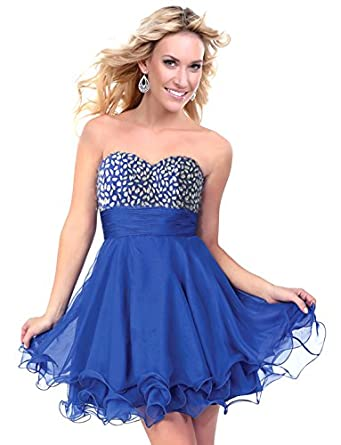 Faironly Strapless Silk Chiffon Mini Above Knee Formal Party Prom Cocktail Dress (XS, Blue)
