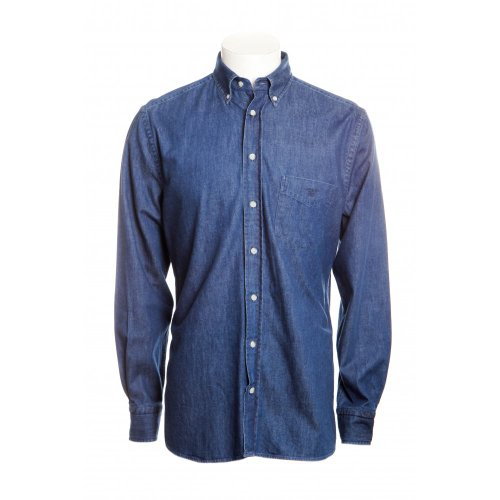 Gant mens long sleeve casual fit button down collar twill shirt in indigo blue X.L