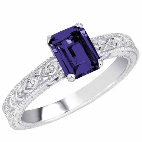 DivaDiamonds 18ct Gold Emerald Cut Created Blue Sapphire and Round Diamond Ring (1 cttw, F-G, VS)
