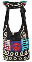 Shangri-La Nook Cotton Peace Sign crossbody Ripped Bag Handmade in Nepal Black