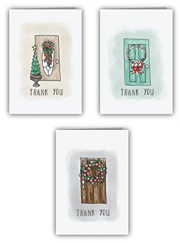 Holiday Door Thank You Cards - 24 Cards & Envelopes