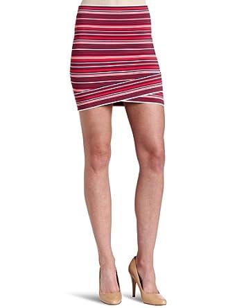 (无敌)女式条纹交叉短裙BCBGMAXAZRIA Ivy Striped Criss Cross Skirt $74.64