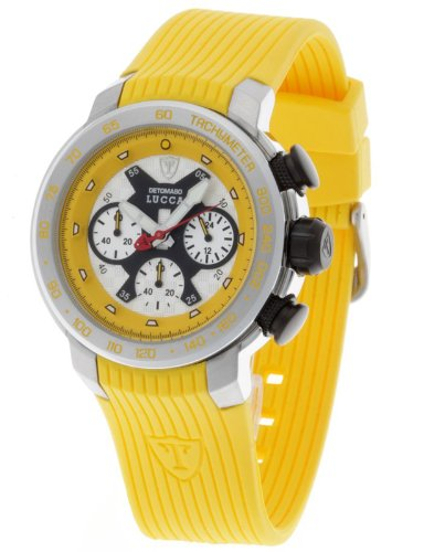 DeTomaso Men's Quartz Watch with Multicolour Dial Analogue Display and Yellow Silicone Strap DT1017-E