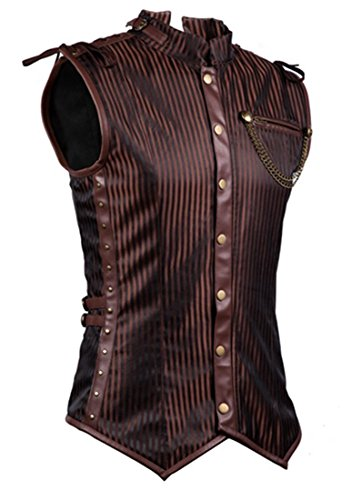 Charmian Men's Spiral Steel Boned Victorian Steampunk Gothic Retro Stripe Waistcoat Vest with Chain Brown Medium