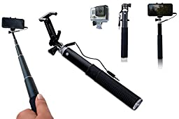 Zivachi Aluminum Selfie Stick for iPhones, Android Phones and GoPro(Mount only), Wired Version - Black