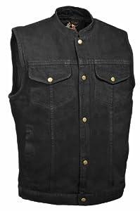 Milwaukee Leather Men's Denim Club Style Vest (Black, 5X-Large)