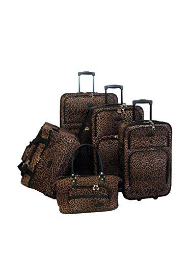 American Flyer 5-Piece Animal Print Luggage Set, Leopard