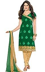 Luxerium Women'S Chanderi Green Unstiched Dress Material