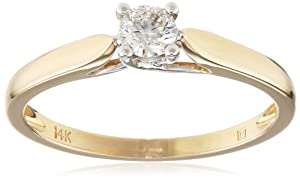 14k Yellow Gold Classic 4-Prong Diamond Solitaire Engagement Ring (0.25 Cttw, G-H Color, I1-I2 Clarity), Size 8