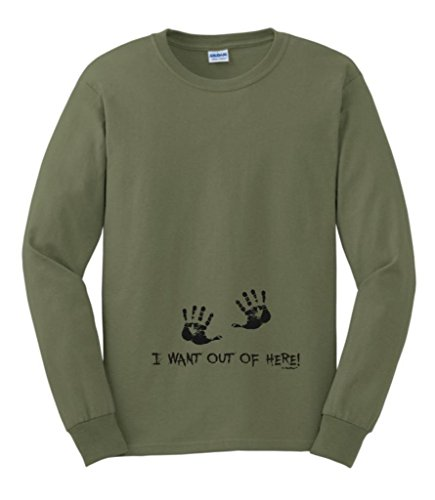 I Want Out Of Here Funny Maternity Themed Long Sleeve T-Shirt Small Military Green front-928593