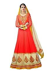 Fabdeal Premium Georgette Embroidered Semi-Stitched Salwar Suit ( HFI2DR1003JFN_Orange & Cream )