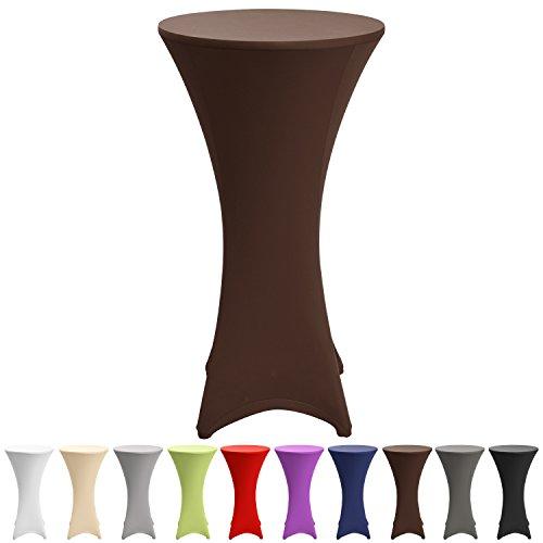 Beautissu-Stretch-Stehtisch-Husse-Stella-fr-Bistrotisch--60-65-cm-elegante-Stretch-Husse-braun-als-Tisch-berzug