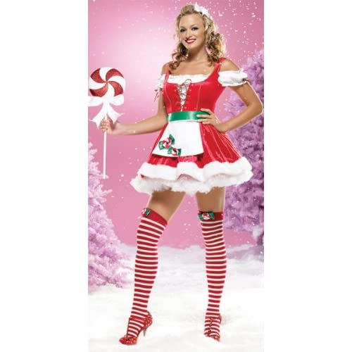 Sexy Costume: Hot Girls in Two Piece Miss Peppermint Bow Santa Peasant Top Dress With Plush Fur Trim, Includes Striped Stockings With Peppermint Bows