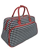 "21"" Houndstooth Print Duffel Carry On Travel Bag w/ Red Trim (Black/White/Red)"