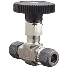 "Parker Valve 4Z-V4LR-SS 1/4"" 316 Stainless Steel Needle Valve 1/4"" Compression Type"