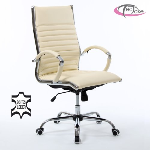 TecTake LUXURY OFFICE CHAIR WITH TOP REAL LEATHER creme