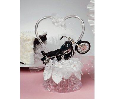 Motorcycle and Heart Cake Topper