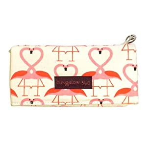 Bungalow360 Women's Canvas Velcro Clutch Wallet (Natural/Flamingo)