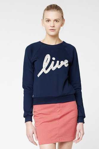 L!VE Long Sleeve Script Print Crewneck Sweatshirt