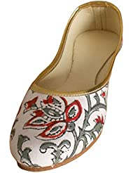 Kalra Creations Women's Traditional Self Print Cotton Cloth Ethnic Shoes