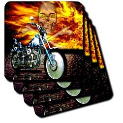 Florene Transportation - Picturing Harley Davidson Bike on Background of Flames n Skull - Coasters - set of 4 Ceramic Tile Coasters