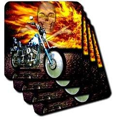 Florene Transportation - Picturing Harley Davidson Bike on Background of Flames n Skull - Coasters - set of 4 Ceramic Tile Coasters