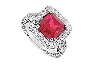 GF Bangkok Ruby and Cubic Zirconia Ring : 10K White Gold - 4.75 CT TGW Size 10.5
