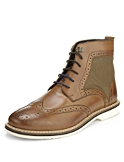 Leather Lace Up Brogue Boots