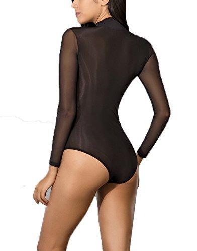 DOREANSE Underwear Edler Damenbody Langarm Stehkragen Luxus Tüllbody Blusenbody Bodysuit günstig kaufen